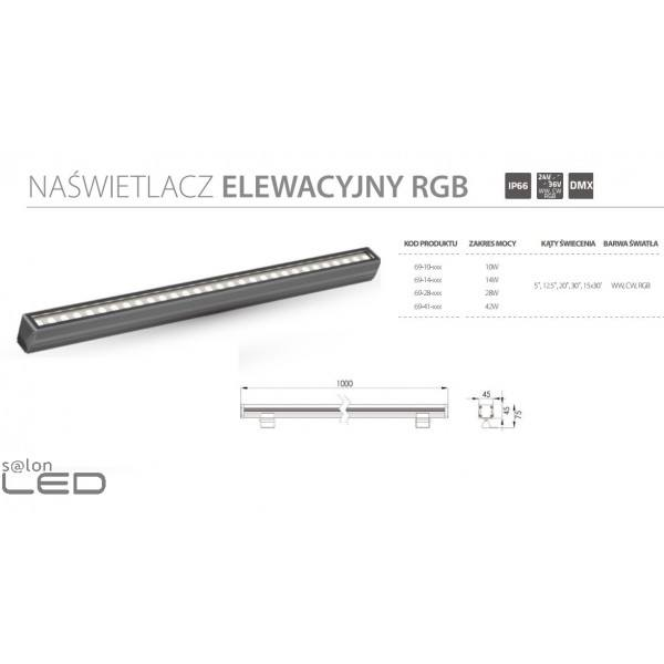 Oświetlenie Elewacji Naświetlacz Liniowy Mini Led Ip66 Ciepłe Zimne Rgb