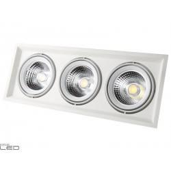 Oprawa sufitowa LED COB 3x25W biała, czarna 3000K
