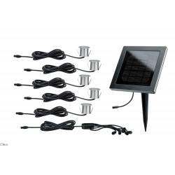 Paulmann Outdoor solar module incl. LED recessed floor lamps Stainless steel, black, 5 pc. set