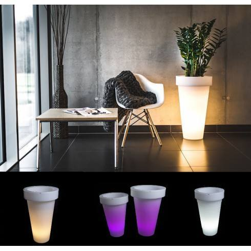 Illuminated LED plant pot PONS 75cm, 90cm warm, cool, RGB