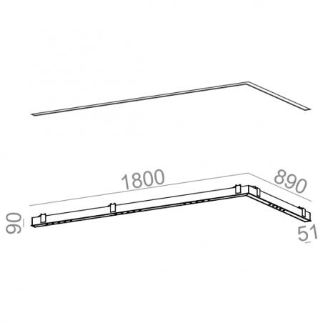 AQFORM LENS LINE 180x89 RC LED recessed 30230
