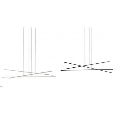 LINEA LIGHT Straight_P3 Pedant lamp LED white, black 102cm, 152cm