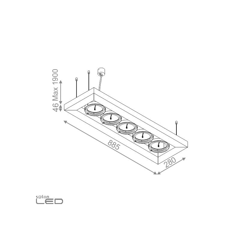 aqform cadva 111x5 53215 pendant lamp 5xar111 white  black