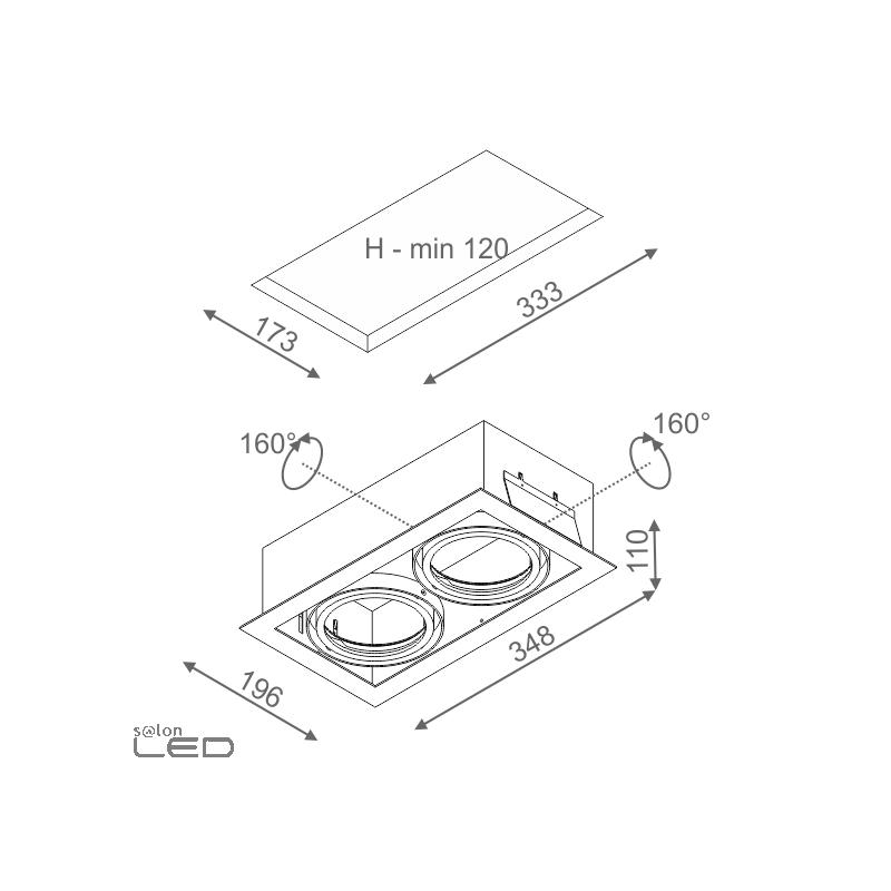 aqform squares 111x2 230v recessed 35112 double