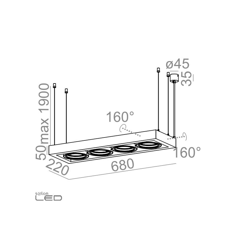 aqform cadra 111x4 230v suspended 54914 modern  pendant