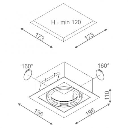 AQFORM SQUARES 111x1 230V wpuszczany 35011-0000-U8-PH