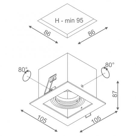 AQFORM SQUARES 50x1 wpuszczany 36011-0000-T8-PH