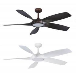 Ceiling fan FANTASIA Sirocco white, brown LED lighting