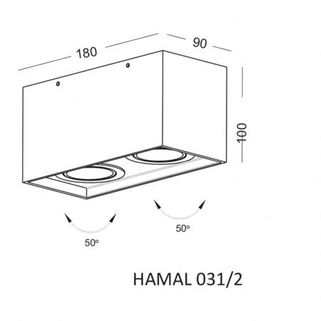 ELKIM HAMAL 031/2 oprawa sufitowa biała, czarna 230V