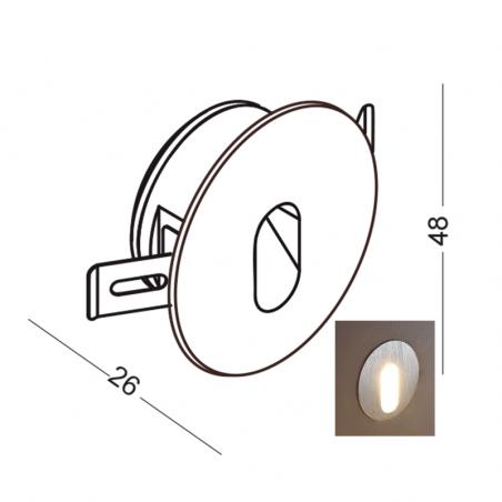 ELKIM LESEL 002 schodowa LED 1W alu, biała, czarna