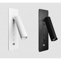 KOHL SIGN K50702.WR kinkiet wpuszczany LED 3W biały, czarny z USB