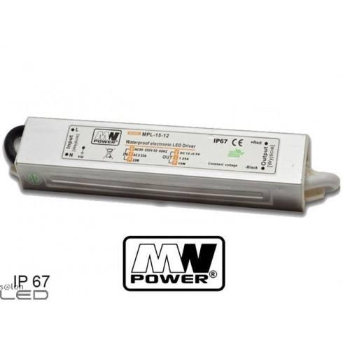 Zasilacz LED MW Power MPL-15-12 18W 1,25A 12V DC WODOODPORNY