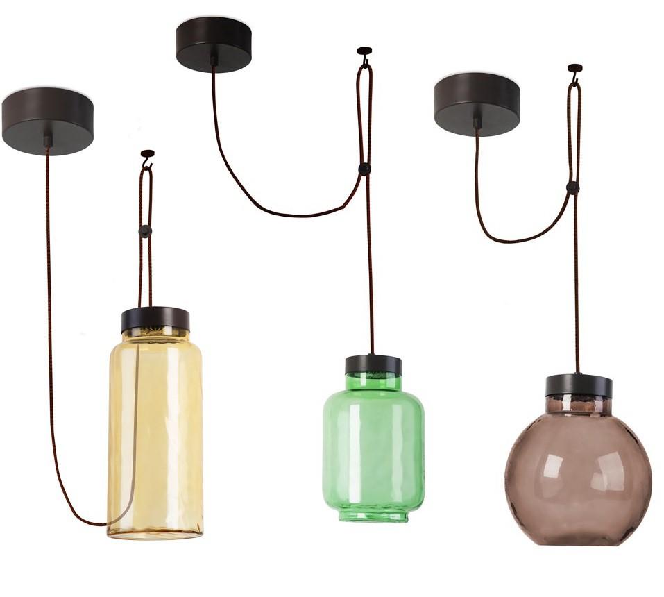 kolorowe lampy wiszące ze szkła