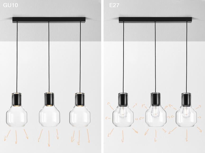 swiecenie lamp z żarówkami E27 i gu10
