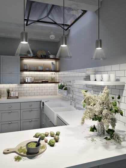 Lamps hanging above the kitchen counter