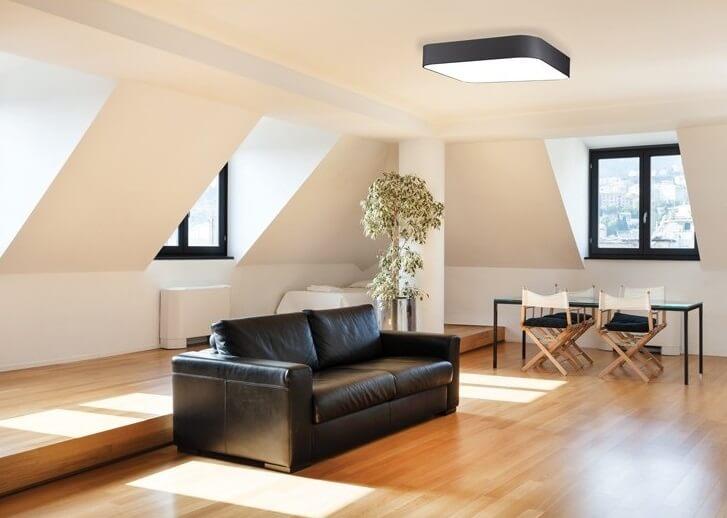 Kwadratowy plafon LED do salonu