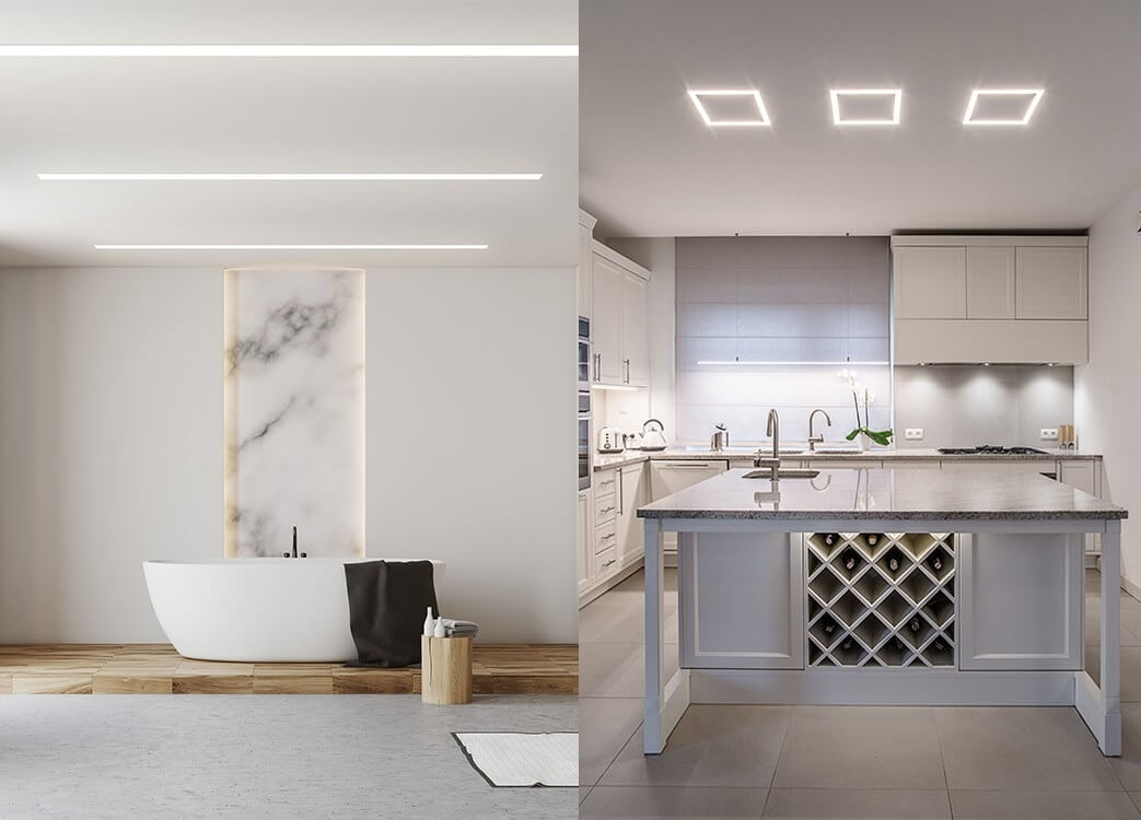 Recessed led profiles in bathroom and kitchen