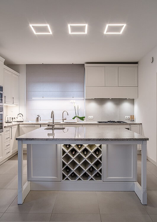 Modern ceiling lighting in the kitchen