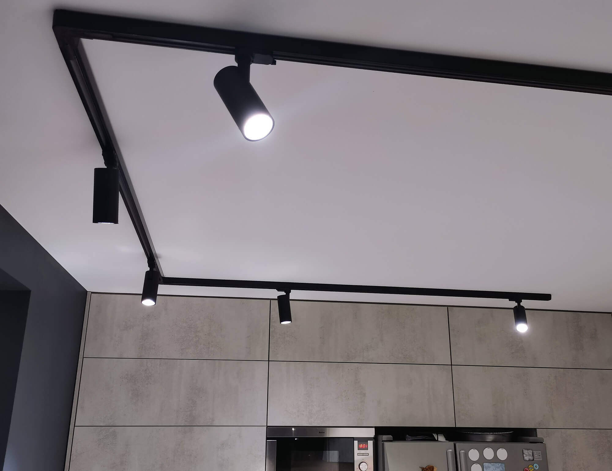 Track lighting in the kitchen