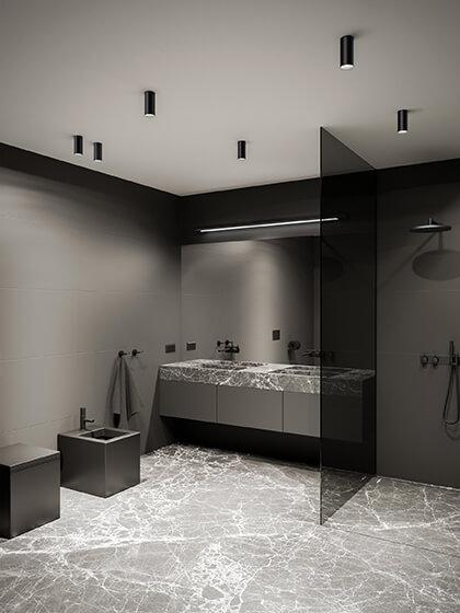 czarne tuby hermetyczne IP do łazienki