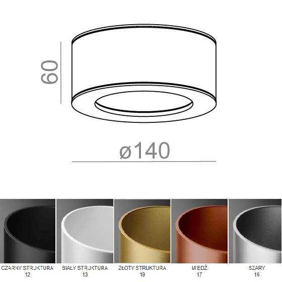 Tuba łazienkowa IP biała, czarna, złota, miedziana, szara