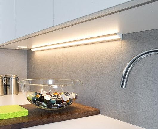 LED corner under-cupboard in the kitchen