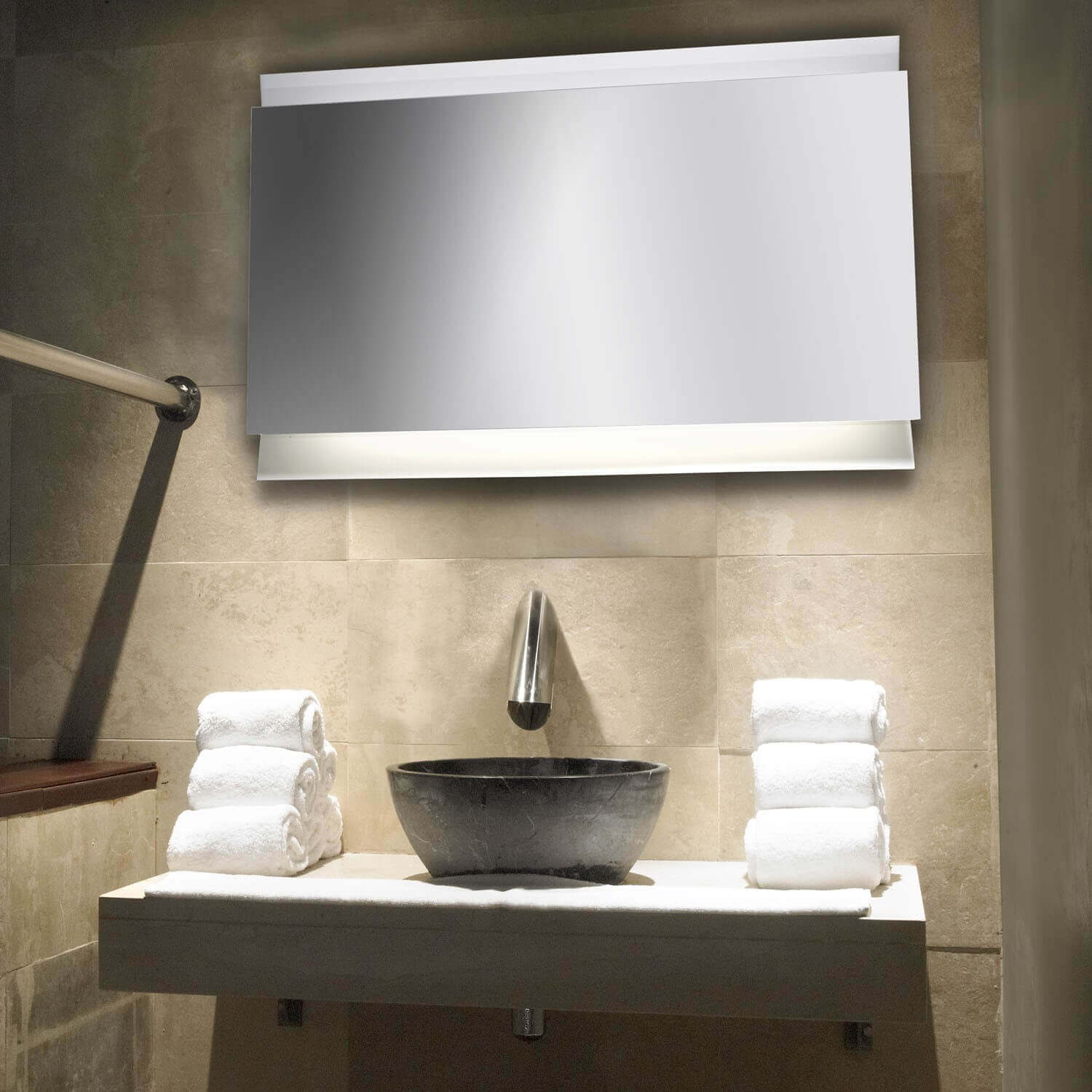 big size bathroom led mirror
