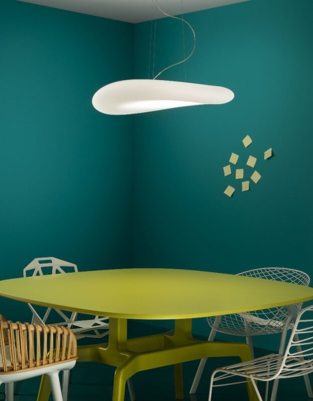 Modern pendant lamp above the table