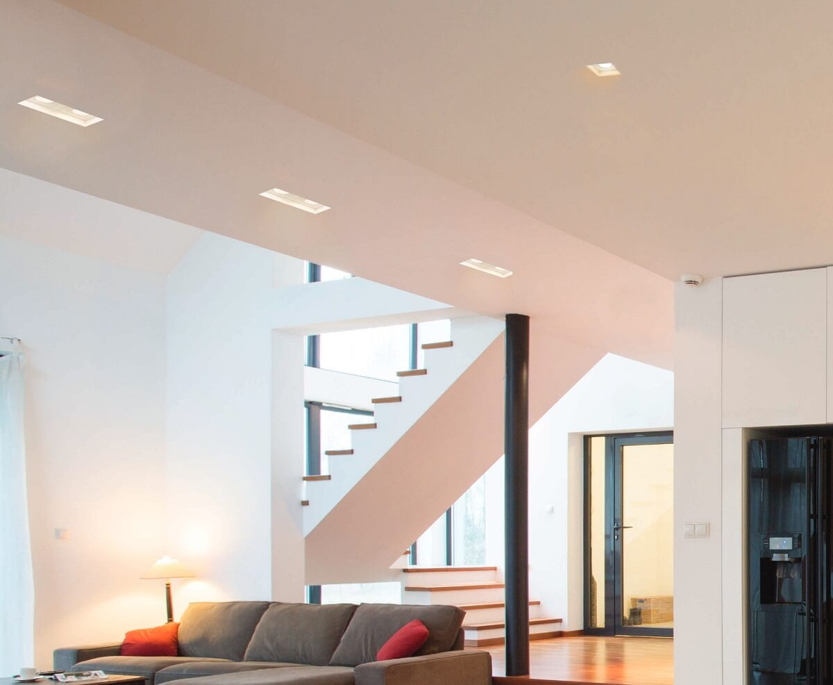 Recessed luminaires in the living room