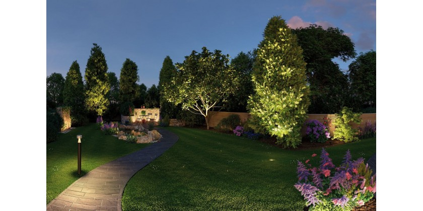 Garden lighting with LED lamps