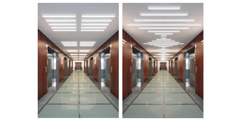 Line lighting in Armstrong modular ceilings
